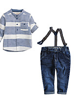 Boy's Casual/Daily Striped Clothing SetCotton Summer / Spring / Fall Blue