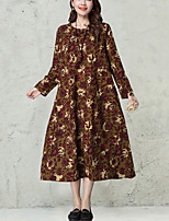 Women's Plus Size / Casual Vintage Ethnic Print Loose DressPrint Midi Long Sleeve Red Cotton / Linen Spring /Fall