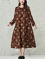 Женский На каждый день / Большие размеры Винтаж Свободный силуэт Платье С принтом,Круглый вырез Средней длины Длинный рукав КрасныйХлопок