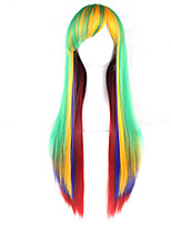 Europe And The United States The New Color For Cosplay Anime Wigs Green Gradient Female Long Hair