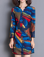Women's Plus Size / Casual/Daily Vintage Sheath DressPrint V Neck Above Knee Long Sleeve Blue Polyester All Seasons