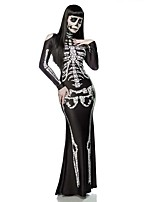 Cosplay Costumes Skeleton/Skull / Ghost / Vampire Movie Cosplay Black Solid Dress Halloween / Christmas / New Year Female Polyester