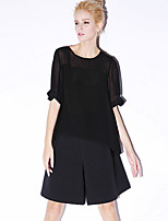NEW BEFORE  Women's Casual/Daily Simple Spring / Summer BlouseSolid Round Neck Length Sleeve