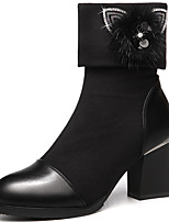 Women's Boots Spring / Fall / Winter Combat Boots Fur Office & Career / Casual Chunky Heel Slip-on Black Snow Boots