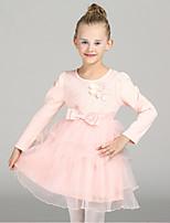Mädchen Kleid-Lässig/Alltäglich einfarbig Baumwolle / Polyester Frühling / Herbst Rosa / Beige