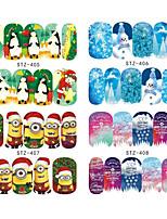 16pcs/set Стикер искусства ногтя Полу-накладные ногти / Полностью накладные ногти / Вода Передача Переводные картинки / Стразы для ногтей