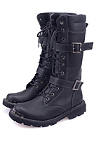 Men's Boots Fall / Winter Riding Boots / Work & Safety Cowhide Outdoor Flat Heel Buckle / Lace-up  Cycling / Walking