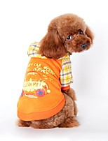 Cat Dog Hoodie Dog Clothes Winter Spring/Fall Plaid/Check Holiday Fashion Orange Blue