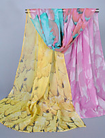 Women's Chiffon Flowers Print Scarf White/Pink/Purple/Blue