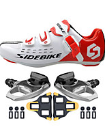 SD001 Cycling Shoes Unisex Outdoor / Road Bike Sneakers Damping / Cushioning White / Red-sidebike And R540 Rock Pedals