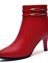 Women's Boots Spring/Fall/Winter Combat Boots Synthetic Office & Career / Casual Stiletto Heel Black/Red Snow Boots