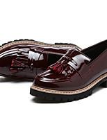 Черный / Бордовый-Женский-Для прогулок-Микроволокно-На низком каблуке-Удобная обувь-Мокасины и Свитер