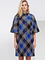 משובץ צווארון פיטר פן סגנון רחוב ליציאה מעיל נשים,כחול אורך חצי שרוול חורף עבה צמר / חוטי זהורית / אקריליק