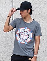WOWTEE Herren Rundhalsausschnitt Kurze Ärmel T-Shirt Grau / Rosa-WT-TX025-1