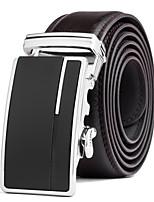 Men's Suits Dress Black Leather Waist Belt Strap Black Silver Automatic Belt Buckle