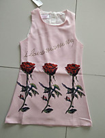 Girl's Casual/Daily Floral DressCotton Summer Pink / White