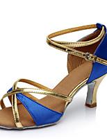 Non Customizable Women's Dance Shoes Satin Satin Latin Sandals Chunky Heel Performance
