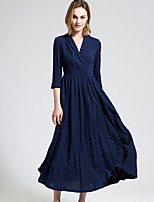 BORME Women's V Neck 3/4 Length Sleeve Maxi Dress-Y039