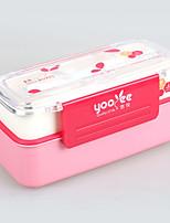 yooyee двойной коробки обеда слой пластика с ложкой и вилкой