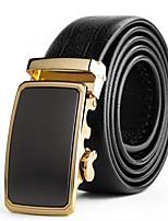 Mens Suits Dress Gold Automatic Belt Buckles Black Leather Waist Belt Strap