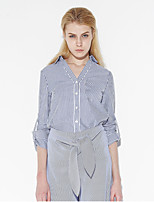 C+IMPRESS Women's Going out Street chic Spring / Fall ShirtSolid / Striped V Neck Long Sleeve Blue Cotton Medium
