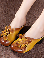 Women's Sandals Summer Slingback Leather Casual Chunky Heel Flower Black Yellow Red Others