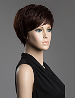 Short Fluffy Straight Tail Upwards Side Bang Spiffy  Human Hair Wig For Women
