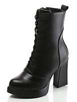 Mujer-Tacón Robusto-Botas a la Moda-Botas-Exterior Informal-Cuero-Negro