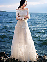 Whisper Wheat Women's Going out /Sexy A Line DressEmbroidered Boat Neck Maxi Long Sleeve White Cotton / Nylon Spring