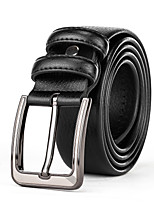 Mens Silver Belt Buckle Black Leather Waist Belt Straps For Casual Pants Jeans Belts