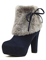 Women's Boots New Arrival Fleece Bootie Ruched Rabbit Hair Winter Platform Ankle Boots Black and Blue Colors