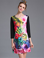 AUFOLI Women Bead Print Color Block Large Size Fashion Vintage 3/4 Sleeve Dress