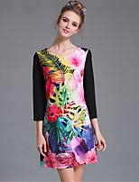 aufoli Frauen Wulst Druckfarbenblock Größe fashion Jahrgang 3/4 Ärmel Kleid