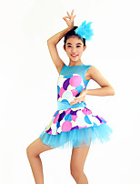 Jazz Dresses Women's / Children's Performance Spandex /Ribbon / Tiers / Polka Dots 2 Pieces Blue Jazz Sleeveless