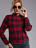 Newbefore Women's Casual/Daily Vintage Spring / Fall ShirtPlaid Stand Long Sleeve