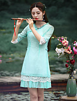 Our Story Women's Going out Chinoiserie Sheath Dress Round Neck Above Knee  Length Sleeve Green Nylon Summer