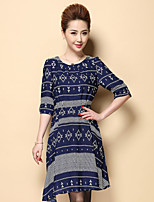 Boutique S Women's Plus Size / Going out Vintage Sheath DressGeometric Round Neck Knee-length  Sleeve Blue Polyester