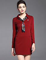 Women's Plus Size/Casual/Party Street chic Fashion Shift/Sheath Dress Shirt Collar Blue/Red/Black Polyester Fall/Winter