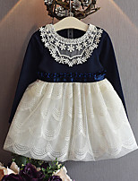 Mädchen Kleid-Lässig/Alltäglich Patchwork Baumwolle / Polyester Frühling / Herbst Weiß