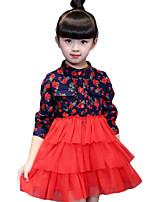 Vestido Chica de-Casual/Diario-Estampado-Algodón-Primavera / Otoño-Rojo