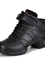Non Customizable Women's Dance Shoes Leather Leather Modern Heels Low Heel Practice Black