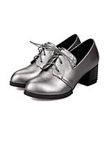 Черный / Серый / Серо-коричневый-Женский-Для прогулок / На каждый день-Полиуретан-На толстом каблуке-На каблуках-Обувь на каблуках