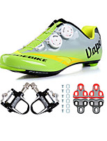 Cycling Shoes Unisex Outdoor / Road Bike 04 Sneakers Damping / Cushioning Green / Gray-sidebike And Black Lock Pedals