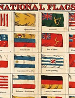 JAMMORY Art Deco Wallpaper Retro Wall Covering,Canvas Large Mural Countries Flags