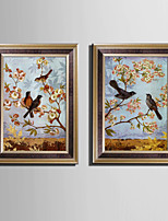 E-HOME® Framed Canvas Art, Bird In The Tree Framed Canvas Print Set Of 2