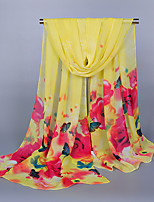 Women's Chiffon Flowers Print Scarf Yellow/Fuchsia/Watermelon
