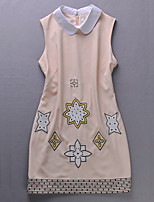 Boutique S Women'sA Line DressEmbroidered Peter Pan Collar Above Knee Sleeveless Beige Polyester Mid Rise Inelastic