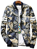 Men's Long Sleeve Casual / Sport JacketCotton / Spandex Camouflage Blue / Brown