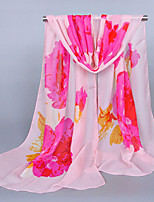 Women's Chiffon Flowers Print Scarf Pink/Yellow/White/Blue/Beige
