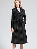 BORME Women's Shirt Collar Long Sleeve Trench Coat Black-Y052